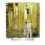 Ochre Wall 02 Shower Curtain