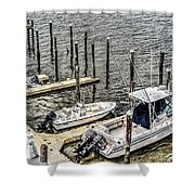 Ocnj Boats At Marina Shower Curtain