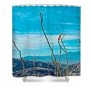 Ocotillo At Top Of Ladder Canyon With Salton Sea In Distance In Mecca Hills-ca Shower Curtain