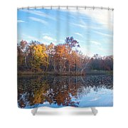 October Pond View Shower Curtain