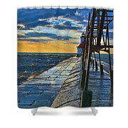 October Sunset At St. Joseph Lighthouse - Simulated Oil  Shower Curtain