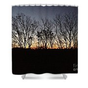 October Sunset Trees Silhouettes Shower Curtain