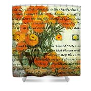 October's Child Birthday Card With Text And Marigolds Shower Curtain