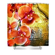 October's Orchids Shower Curtain