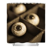 Oddities Fake Eyeballs Shower Curtain by Edward Fielding