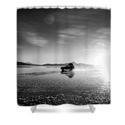 Off Road Uyuni Salt Flat Tour Black And White Shower Curtain