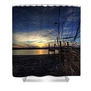 Off Season Sunset At The Lake Shower Curtain