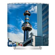Office Building And Waste-to-energy Plant Vienna Shower Curtain by Stephan Pietzko