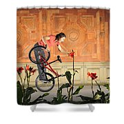 Oh A Pretty Flower - Funny Bmx Flatland Pic With Monika Hinz Shower Curtain