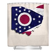 Ohio Map Art With Flag Design Shower Curtain