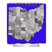 Ohio Map Blue Shower Curtain