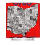 Ohio Map Red Shower Curtain