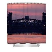 Ohio River Railroad Bridge Shower Curtain