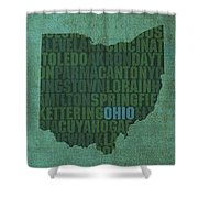 Ohio State Word Art On Canvas Shower Curtain