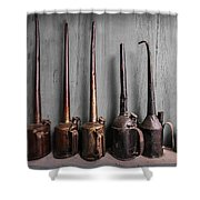 Oil Can Collection Shower Curtain by Debra and Dave Vanderlaan