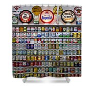 Oil Cans And Gas Signs Shower Curtain by Garry Gay