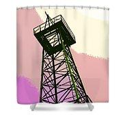Oil Derrick In Pink Shower Curtain
