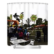 Oil Painting - A Table Along With The Dragon Coaster At The Blair Drummond Safari Park Shower Curtain