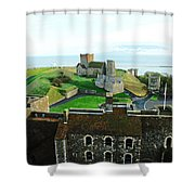 Oil Painting - Aerial View Of Dover Castle Shower Curtain