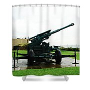 Oil Painting - Anti Aircraft Gun At Dover Castle Shower Curtain