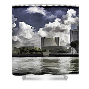 Oil Painting - Buildings Along The Waterfront In Singapore Shower Curtain