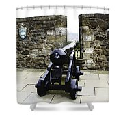 Oil Painting - Cannons And Cannon Balls At Walls Of Stirling Castle Shower Curtain