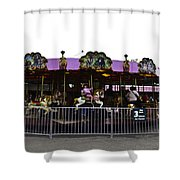 Oil Painting - Children And Adults At The Merry Go Round Inside The Blair Drumm Shower Curtain