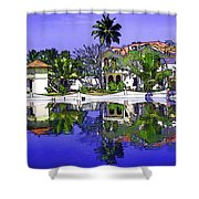 Oil Painting - Cottages And Lagoon Water Shower Curtain