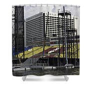 Oil Painting - Floating Platform And Construction Site In The Marina Bay Area Shower Curtain