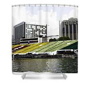 Oil Painting - Floating Platform In The Marina Bay Area In Singapore Shower Curtain