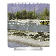 Oil Painting - Front Part Of School Bus In A Mountain Stream On The Outskirts Of Srinagar Shower Curtain