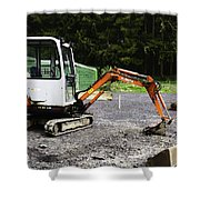 Oil Painting - Heavy Machinery Doing Some Excavation As Part Of Construction Shower Curtain