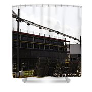 Oil Painting - Lighting Support In Front Of Stands For The Formula One Race In Singapore Shower Curtain