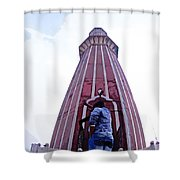Oil Painting - Minaret Inside Jama Masjid Shower Curtain