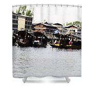 Oil Painting - Multiple Families Relaxing In Multiple Shikaras In The Dal Lake Shower Curtain