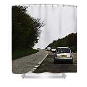 Oil Painting - Nissan Micra On The Streets Of Scotland With Greenery On Both Sides Shower Curtain
