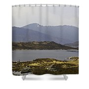 Oil Painting - Rugged Shoreline And Waters Of A Loch In The Scottish Highlands Shower Curtain