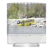 Oil Painting - School Bus In A Mountain Stream On The Outskirts Of Srinagar Shower Curtain