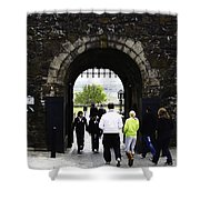 Oil Painting - Staff And Tourists At The Entrance Of Stirling Castle Shower Curtain