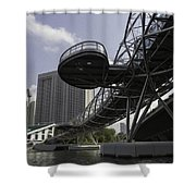 Oil Painting - The Bayfront Bridge And Helix Bridge In Singapore Shower Curtain