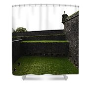 Oil Painting - The Depth Of The Moat Now Covered With Grass At Stirling Castle Shower Curtain