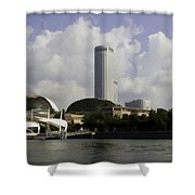 Oil Painting - The Swissotel Is A Tall Hotel In Singapore Next To The Esplanade Shower Curtain