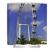 Oil Painting - The Wheel Of Singapore Flyer Shower Curtain