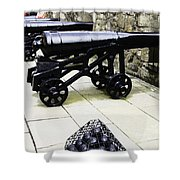Oil Painting - Tourists And Cannons With Ammunition At The Wall Of Stirling Castle Shower Curtain