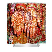 Oil Painting - Wonderfully Decorated Hands Of A Bride Shower Curtain