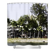 Oil Painting - Workers Preparing The Stands For The Formula One Race In Singapore Shower Curtain