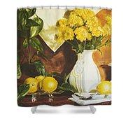 oil painting print of art for sale Golden Lemons  Shower Curtain