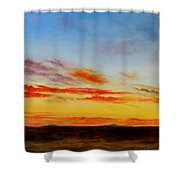 Oil Painting - When The Clouds Turn Red Shower Curtain