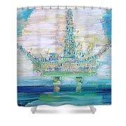 Oil Platform Shower Curtain by Fabrizio Cassetta
