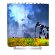 Oil Pump Field Shower Curtain